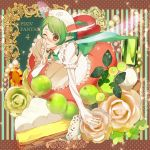 1girl apron brown_eyes cake copyright_name fairy fairy_wings finger_to_mouth flower food gem glasses green_hair index_finger_raised nishihara_isao one_eye_closed pixiv_fantasia pixiv_fantasia_4 pointy_ears shushing solo wings