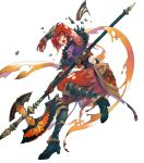 1girl alternate_costume armor armored_boots bangs belt bodysuit bodysuit_under_clothes boots breastplate feather_trim fire_emblem fire_emblem:_mystery_of_the_emblem fire_emblem_heroes gauntlets hair_ornament highres minerva_(fire_emblem) official_art red_bodysuit red_eyes redhead shiny shiny_clothes shiny_hair short_hair shoulder_armor solo