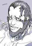 1boy face grey_background greyscale hair_slicked_back heart looking_at_viewer male_focus monochrome mumuka parted_lips science_fiction simple_background sketch solo spoilers teeth toridamono upper_body xenoblade_(series) xenoblade_1