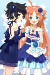 2girls ahase_hino ahiru ahoge alternate_costume alternate_hairstyle black_bow blue_bow blue_dress blue_eyes bow cake cup dress dress_flower earrings eating elbow_gloves flower food fork gloves hair_flower hair_ornament hairband highres holding holding_cup jewelry long_hair looking_at_viewer multiple_girls necklace orange_hair princess_tutu rue_(princess_tutu) short_hair standing very_long_hair white_gloves