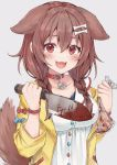1girl :d absurdres animal_ears bag bangs blood blush bone_hair_ornament bracelet braid breasts brown_eyes brown_hair censored collar collarbone dog_ears dog_girl dog_tail eyebrows_visible_through_hair fangs grey_background hair_between_eyes hair_ornament highres hololive hyouta_(yoneya) inugami_korone jacket jewelry knife large_breasts long_hair looking_at_viewer low_twin_braids mosaic_censoring open_mouth plastic_bag red_collar severed_finger simple_background smile solo tail twin_braids upper_body virtual_youtuber yellow_jacket