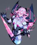 1boy azure_striker_gunvolt bare_chest blade collarbone fingernails grey_background hair_between_eyes half-closed_eyes long_hair male_focus parted_lips pauldrons pink_eyes pink_hair purple_skin salamanshe sharp_fingernails shoulder_armor simple_background smile solo sparkle weapon zonda_(gunvolt)