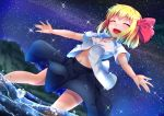 1girl arms_up bangs black_skirt blonde_hair blush closed_eyes commentary_request dutch_angle eyebrows_visible_through_hair from_below hair_ribbon highres midriff milky_way navel night night_sky open_clothes open_mouth open_shirt outdoors outstretched_arms ribbon rody_(hayama_yuu) rumia shiny shiny_hair shirt short_hair short_sleeves skirt sky smile solo sparkle spread_arms star_(sky) starry_sky touhou wading white_shirt wind wind_lift