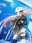 1girl animal_ears bayonet big.c black_jacket floating_hair from_side gun highres holding holding_gun holding_weapon jacket looking_ahead motion_blur pixiv_fantasia pixiv_fantasia_new_world science_fiction skirt thigh_strap weapon white_hair white_skirt