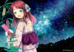 1girl :d alternate_costume arms_up bamboo bangs blue_eyes blush cherry_blossom_print commentary_request floral_print hair_ribbon holding_tanzaku japanese_clothes kimono long_sleeves looking_at_viewer looking_back medium_hair milky_way minamoto_sakura night night_sky obi open_mouth outdoors pink_kimono redhead ribbon sash sky smile solo star_(sky) starry_sky swept_bangs tanabata tanzaku tomo_takino twitter_username upper_teeth yukata zombie_land_saga