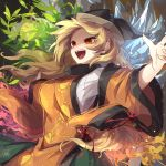 1girl autumn_leaves black_headwear blonde_hair blouse detached_sleeves hat highres ice kozakura_(dictionary) layered_clothing long_hair matara_okina open_mouth orange_eyes outstretched_arms plant seasons solo spread_arms tabard touhou upper_teeth white_blouse