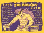 1boy abs album_cover belt belt_buckle buckle commentary cover english_commentary english_text fake_cover fingerless_gloves forehead_protector gloves guilty_gear guilty_gear_strive guilty_gear_xrd hand_on_hip headband junkyard_dog_mk_iii long_hair looking_at_viewer male_focus manly monochrome muscle parental_advisory planted_sword planted_weapon ponytail sol_badguy solo ssssquash sword weapon