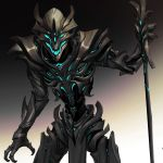 1boy blue_eyes claws cyborg devil_lo glowing gradient gradient_background highres holding holding_staff male_focus necromancer open_mouth original science_fiction solo staff