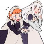 2girls @_@ annette_fantine_dominic artist_name blue_eyes do_m_kaeru fire_emblem fire_emblem:_three_houses long_hair long_sleeves lysithea_von_ordelia maid maid_headdress multiple_girls open_mouth orange_hair pink_eyes plate simple_background white_background white_hair