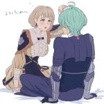 1boy 1girl adz_lrp black_gloves blonde_hair byleth_(fire_emblem) byleth_(fire_emblem)_(male) dress earrings fire_emblem fire_emblem:_three_houses from_behind gloves green_hair jewelry long_sleeves mercedes_von_martritz open_mouth short_hair simple_background sitting violet_eyes white_background
