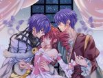 1girl 2boys arm_around_waist bare_shoulders blue_butterfly blue_eyes blue_hair choker detached_sleeves dress drill_hair fine fushigiboshi_no_futago_hime hand_on_another's_chin highres indoors looking_at_viewer multiple_boys pink_dress redhead shade_(fushigiboshi_no_futago_hime) suzuki_(2red_moon3) tiara twin_drills window wristband