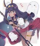 1girl animal_ears bangle bangs black_hair blue_eyes blue_shorts blush bracelet closed_mouth commentary_request egyptian egyptian_clothes eyebrows_visible_through_hair facial_mark fate/grand_order fate_(series) grey_background hair_between_eyes hair_ornament hairband highres holding holding_staff jackal_ears jewelry leaning_forward long_hair looking_at_viewer medjed nitocris_(fate/grand_order) notice_lines shirt short_shorts shorts sparkle staff totatokeke two-tone_background very_long_hair white_background white_shirt