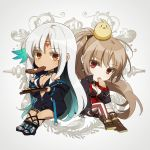 2girls amazuki_jou anchor_earrings asymmetrical_footwear asymmetrical_legwear azur_lane bikini bikini_top body_markings bodypaint center_opening chibi commentary_request dark_skin eating facial_mark feather_hair_ornament feathers food forehead_mark gold_choker hair_feathers highres jean_bart_(azur_lane) light_brown_hair massachusetts_(azur_lane) micro_shorts multiple_girls native_american orange_eyes pastry red_eyes shorts single_knee_boot single_thighhigh steak swimsuit thigh-highs thighlet white_hair