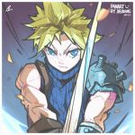 1boy armor bandaged_arm bandages bare_shoulders blonde_hair blue_eyes closed_mouth cloud_strife earrings emphasis_lines eyebrows_visible_through_hair final_fantasy final_fantasy_vii hatching_(texture) highres holding holding_sword holding_weapon jewelry jie-loeng male_focus muscle pauldrons screw shoulder_armor single_earring solo sword turtleneck weapon