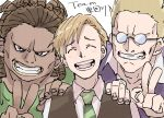 3boys ^_^ akutandayo alphonse_elric arms_at_sides bangs black_eyes blonde_hair blush brown_hair brown_vest cheekbones clenched_teeth close-up closed_eyes collarbone collared_shirt curly_hair dark_skin dark_skinned_male dress_shirt face facing_viewer fingernails fullmetal_alchemist furrowed_eyebrows glasses green_neckwear green_shirt hand_on_another's_shoulder happy head_tilt jerso laughing light_brown_hair looking_at_viewer multiple_boys necktie open_mouth parted_lips purple_shirt shaded_face sharp_teeth shirt side-by-side simple_background striped striped_neckwear swept_bangs tareme teeth thick_lips upper_body v vest white_background white_shirt zampano