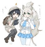 2girls animal_ears backpack bag beige_shirt beige_shorts big_hair black_hair black_legwear blue_eyes blue_neckwear boots brown_footwear captain_(kemono_friends) collared_shirt commentary_request elbow_gloves fur_collar gloves hat_feather helmet highres holding_another japari_symbol kemono_friends kemono_friends_3 khakis lion_ears lion_girl lion_tail long_hair multiple_girls necktie notebook pantyhose pith_helmet plaid plaid_neckwear plaid_skirt plaid_trim pleated_skirt shirt short_hair short_sleeves skirt spawnfoxy tail thigh-highs translation_request uniform white_gloves white_hair white_legwear white_lion_(kemono_friends) white_shirt zettai_ryouiki