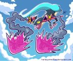 absurdres blue_sky clouds cloudy_sky commentary day deviantart_username dragapult dragon dreepy english_commentary firing flying gen_8_pokemon harlequinwaffles highres no_humans outline pokemon pokemon_(creature) signature sky smoke tongue tongue_out watermark web_address white_outline