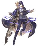 1boy bicorne black_gloves black_hair boots cloak cravat formal full_body glasses gloves gold_trim gradient_hair hair_over_one_eye hameln_(sinoalice) hat holding holding_instrument holding_sword holding_weapon instrument ji_no looking_at_viewer multicolored_hair official_art purple_hair red_eyes sinoalice solo suit sword thigh-highs thigh_boots transparent_background trombone two-tone_hair weapon