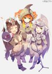 3girls ^_^ aguila closed_eyes eyebrows_visible_through_hair glasses green_eyes grey_background holding holding_megaphone holding_microphone holding_microphone_stand looking_up miclas microphone midriff monster_girl multiple_girls navel orange_hair personification short_shorts shorts tomioka_jirou ultra_kaijuu_gijinka_keikaku ultra_series uninterested watermark windom yellow_eyes