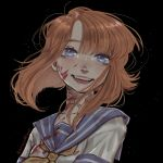 1girl anajudraws bandaid bandaid_on_neck bangs black_background blood blood_on_face bloody_clothes blue_eyes blue_sailor_collar brown_hair commentary eyebrows_visible_through_hair highres higurashi_no_naku_koro_ni lips long_hair looking_at_viewer neckerchief open_mouth ryuuguu_rena sailor_collar school_uniform serafuku solo teeth tongue twitter_username upper_body yellow_neckwear