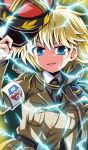 1girl absurdres adjusting_headwear armband asparagus_(girls_und_panzer) aura bc_freedom_(emblem) bc_freedom_military_uniform belt black_belt black_neckwear blonde_hair blue_eyes brown_jacket commentary dragon_ball dragon_ball_z dress_shirt electricity emblem fourragere girls_und_panzer girls_und_panzer_ribbon_no_musha highres jacket jacket_over_shoulder kamishima_kanon kepi long_sleeves looking_at_viewer messy_hair necktie red_headwear shirt sitting smirk smug solo standing super_saiyan super_saiyan_2 white_shirt wing_collar