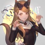 1girl absurdres akainoda animal_ears blonde_hair blush bow claw_pose dress extra_ears fang grin hair_bow highres jinrou_judgment long_hair looking_at_viewer sandra_(jinrou_judgment) smile solo tail wolf_ears wolf_girl wolf_tail yellow_eyes
