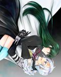 1boy 1girl 3so4ru5959 :d absurdres allen_walker black_jacket blue_eyes blue_legwear cape closed_mouth couple d.gray-man eye_contact facial_mark floating_hair green_eyes green_hair hair_down highres jacket lenalee_lee long_hair long_sleeves looking_at_another neck_ribbon open_mouth red_ribbon ribbon shiny shiny_hair silver_hair smile star_(symbol) straight_hair thigh-highs very_long_hair waist_cape white_cape