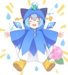 1girl bangs blue_hair boots child cirno closed_eyes eyebrows_visible_through_hair flower frog frozen_frog highres hood hood_up hydrangea light_blush open_mouth outstretched_arms poncho raincoat rubber_boots simple_background smile solo spread_arms spread_legs touhou tsuri_buta water_drop wet wet_clothes white_background wings