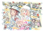 3girls bow bowtie building capelet cat dress fedora hat maribel_hearn mob_cap multiple_girls multiple_persona nekomata path purple_dress running shirt touhou usami_renko white_shirt yakumo_yukari