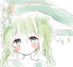 1girl bangs blush bow braid brown_bow closed_mouth collarbone eyebrows_visible_through_hair green_eyes green_hair green_headwear hair_between_eyes hat hat_bow highres long_hair original portrait simple_background solo tsukiyo_(skymint) twin_braids twintails white_background witch_hat