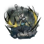 1girl alternate_costume arknights bangs bare_shoulders black_dress black_jacket black_legwear bow_(weapon) breasts crossbow dress full_body grey_eyes grey_hair greythroat_(arknights) hand_up heibaise_jiangshi highres holding holding_bow_(weapon) holding_weapon jacket long_sleeves looking_at_viewer medium_breasts off_shoulder official_art open_clothes open_jacket short_dress short_hair solo standing transparent_background weapon
