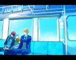 3boys blazer blonde_hair blue_hair cheek_poking jacket kagami_taiga kiknro175 kise_ryouta kuroko_no_basuke kuroko_tetsuya male_focus multiple_boys necktie pants poking redhead scarf school_uniform short_hair sleeping sweater train_interior