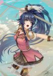 1girl blue_eyes blue_hair braid breasts commentary fadingzz fire_emblem fire_emblem:_the_sacred_stones floating floating_hair from_above gloves hand_up long_hair long_ponytail looking_to_the_side looking_up open_mouth polearm ponytail signature sky small_breasts solo spear tana_(fire_emblem) very_long_hair weapon white_gloves