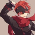 1boy arm_up black_gloves black_headband black_jacket closed_mouth d.gray-man earrings eyepatch fingerless_gloves gloves green_eyes grey_background headband jacket jewelry lavi long_sleeves male_focus or_i redhead simple_background solo spiky_hair tongue tongue_out upper_body