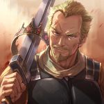 1boy absurdres armor askeladd beard blonde_hair blue_eyes breastplate close-up commentary crown crown_removed face facial_hair facial_scar forehead_scar gradient gradient_background gradient_hair highres holding holding_sword holding_weapon long_sleeves looking_at_viewer male_focus michairu multicolored_hair over_shoulder scar sideburns simple_background smile solo standing sword sword_over_shoulder upper_body veins viking vinland_saga weapon weapon_over_shoulder