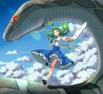 1girl animal belly_peek blue_skirt clouds collared_shirt detached_sleeves flying frog_hair_ornament giant_snake gohei green_eyes green_hair hair_ornament hair_tubes iroiro_yaru_hito kochiya_sanae lens_flare long_hair outstretched_arms oversized_animal petticoat shirt shoes skirt sky snake snake_hair_ornament socks spread_arms touhou