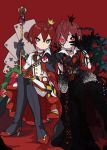 1boy bangs black_gloves blue_eyes crossed_legs crown flower gloves hair_between_eyes heart jacket jewelry long_sleeves looking_at_viewer male_focus mini_crown overblot redhead riddle_rosehearts rose shirt solo staff striped thorns twisted_wonderland yuino_tw