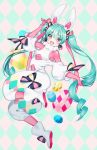 1girl :d animal_ears ankle_boots argyle argyle_background blue_hair bodystocking boots bow bright_pupils chungu commentary drill_hair earrings eyebrows_visible_through_hair full_body hand_up hatsune_miku jewelry long_hair looking_at_viewer open_mouth pink_eyes rabbit_ears round_teeth smile solo teeth twintails twitter_username upper_teeth very_long_hair vocaloid white_footwear white_pupils