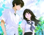 1boy 1girl :o bangs black_hair black_skirt blouse blue_sailor_collar blue_sky blush brown_hair chitanda_eru closed_mouth clouds cloudy_sky collar collared_shirt day green_eyes hair_between_eyes highres hyouka kamiyama_high_school_uniform long_hair looking_at_another mery_(yangmalgage) open_mouth oreki_houtarou outdoors pocket sailor_collar school_uniform serafuku shirt short_sleeves signature skirt sky standing talking tree uniform upper_body violet_eyes white_shirt