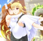 alternate_costume alternate_hairstyle blonde_hair blue_sky brown_hair building carrying cheek_kiss church closed_eyes clouds cloudy_sky dress fate_testarossa formal happy highres kiss long_hair lyrical_nanoha mahou_shoujo_lyrical_nanoha mahou_shoujo_lyrical_nanoha_strikers misumi_takasumi open_mouth princess_carry red_eyes sky suit surprised takamachi_nanoha tuxedo very_long_hair wedding wedding_dress yuri