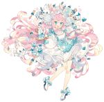 1girl absurdres animal animal_ears blue_butterfly blue_skirt bow braid cup dress flower food fork full_body heart highres holding holding_tray long_hair macaron original pink_hair puffy_sleeves rabbit skirt solo spoon standing teapot thigh_strap tray very_long_hair wakanagi_eku white_background white_footwear wrist_cuffs