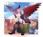 1girl bag bird_wings black_dress black_legwear blue_hair boots brown_eyes brown_footwear commentary_request creeper dress eho_(icbm) feathered_wings full_body gem head_rest head_wings highres horns lantern leaning_forward long_sleeves looking_at_viewer minecraft multicolored_hair parted_lips pickaxe pointy_ears short_hair shoulder_bag silver_hair sitting smile solo thigh-highs tokiko_(touhou) touhou two-tone_hair wide_sleeves wings