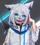 1girl absurdres ahoge animal_ear_fluff animal_ears aqua_eyes blood blood_on_face blood_splatter blood_stain bloody_hands cuts fox_ears fox_girl fox_tail highres hololive injury jacket long_hair looking_at_viewer mask mouth_mask shirakami_fubuki solo tail temari_maco virtual_youtuber white_hair