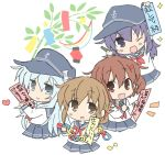 4girls akatsuki_(kantai_collection) anchor_symbol blue_eyes brown_eyes brown_hair chibi flat_cap folded_ponytail hair_ornament hairclip hat hibiki_(kantai_collection) highres hizuki_yayoi ichininmae_no_lady ikazuchi_(kantai_collection) inazuma_(kantai_collection) kantai_collection long_hair multiple_girls neckerchief pleated_skirt purple_hair red_neckwear school_uniform serafuku short_hair silver_hair skirt smile tanabata tanzaku translated upper_body violet_eyes