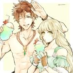 1boy 1girl banira_(ri0115ka) blonde_hair brown_gloves cup drinking drinking_straw eyewear_on_head fingerless_gloves fire_emblem fire_emblem:_three_houses fire_emblem_heroes glass gloves green_eyes holding holding_cup ingrid_brandl_galatea jewelry long_hair necklace one_eye_closed open_mouth red_eyes redhead shirtless short_hair simple_background sunglasses swimsuit sylvain_jose_gautier twitter_username upper_body