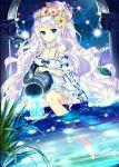 1girl blue_eyes dress flower flower_on_head long_hair night night_sky plant silver_hair sky star_(sky) water white_dress