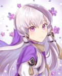 1girl bangs closed_mouth eyebrows_visible_through_hair fire_emblem fire_emblem:_three_houses floating_hair flower from_side hair_between_eyes hair_ornament haru_(nakajou-28) highres long_hair looking_at_viewer lysithea_von_ordelia purple_flower silver_hair smile solo upper_body very_long_hair violet_eyes