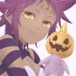 1girl arm_ribbon breasts closed_mouth d.gray-man dark_skin hatena_(harrrr07) looking_at_viewer portrait pumpkin purple_hair purple_ribbon ribbon road_kamelot shiny shiny_hair short_hair simple_background small_breasts smile solo white_background yellow_eyes