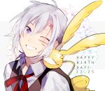 1boy ;d allen_walker bangs black_vest blue_eyes collared_shirt d.gray-man eco_(mamenoki) grin hair_between_eyes happy_birthday male_focus neck_ribbon one_eye_closed open_mouth red_ribbon ribbon shirt silver_hair smile solo timcanpy upper_body vest white_background white_shirt wing_collar