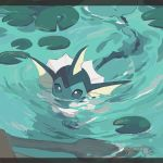 absurdres aqua_theme commentary_request gen_1_pokemon hideko_(l33l3b) highres lily_pad no_humans partially_submerged pokemon pokemon_(creature) solo swimming twitter_username vaporeon water